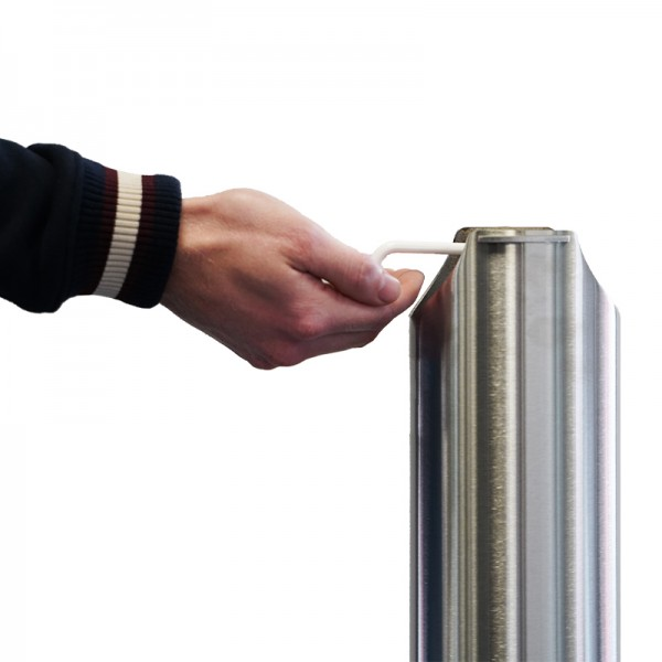 Sterling Stainless Steel Pedal Activated Mountable Hand Sanitiser Bollard 100% Mechanical Zero Touch | Australian Made