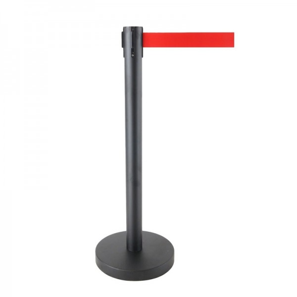 Queue Barrier Pole Retra Crowd Control Black Bollard & Retractable 2m Belt