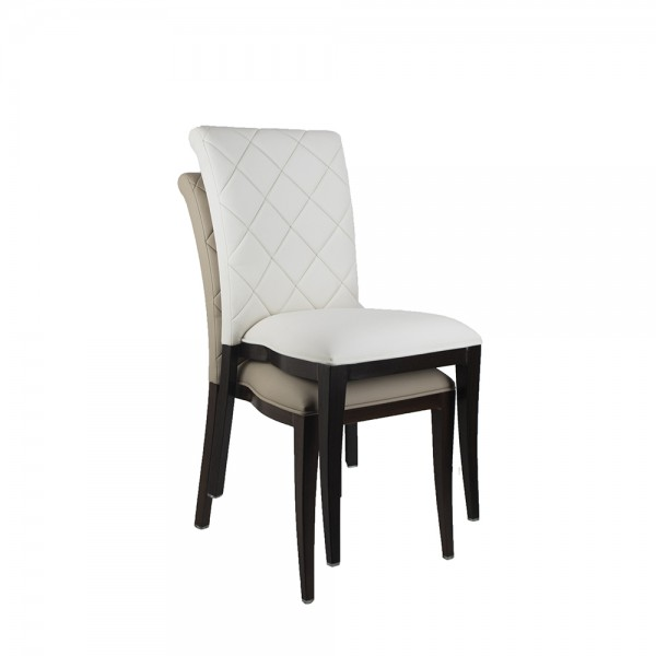 Mayfair Dining Chair Timber Grain Look Aluminium Frame 4 Leg Upholstered Dining Hospitality Chairs 170kg Weight Rated
