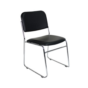 Express Sled Based Stacking Visitor Chair Black Vinyl Medical Healthcare Seating Metal Frame 165kg Weight Rated