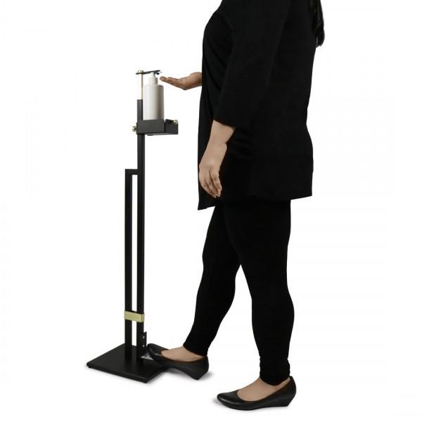 Hand Sanitiser Touchless Dispenser Station Free Standing Floor Stand with Foot Pedal Black   Free 1 Litre Hand Sanitiser