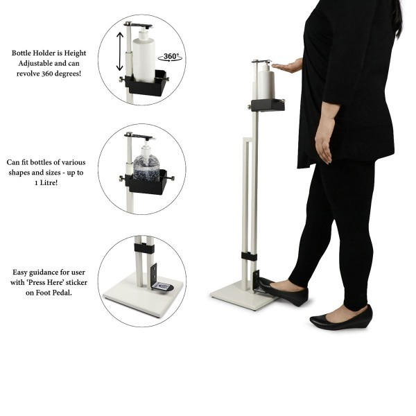 Touch Free Hand Sanitiser Dispenser Station Free Standing Floor Stand with Foot Pedal White