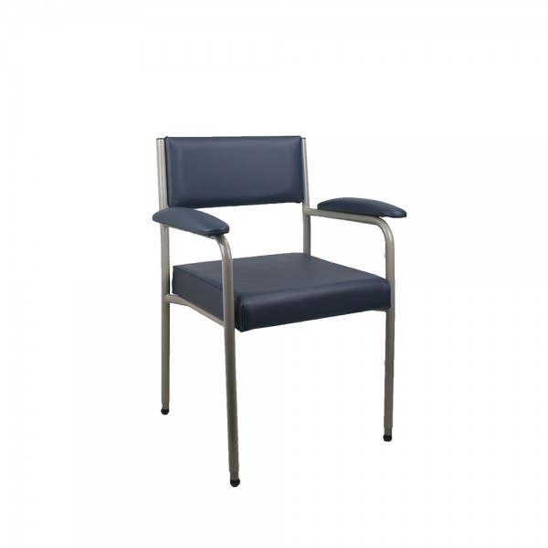 King Comfort Healthcare Aged Care Adjustable Height Bariatric Chair - Navy Vinyl Grey Frame 350kg Weight Rating | *Discounted Stock*