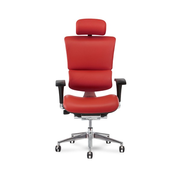 X4 Chair Genuine Premium Leather Executive Ergonomic Office Chair Auto Dynamic Variable Lumbar & Headrest Red