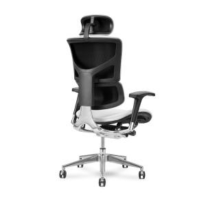 X4 Chair Genuine Premium Leather Executive Ergonomic Office Chair Auto Dynamic Variable Lumbar & Headrest White