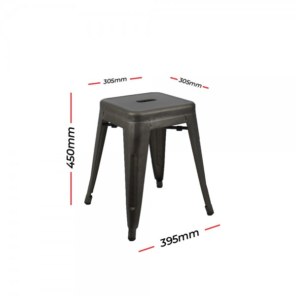 Metal Tolix Reproduction Stacking Stools | Bar & Bench & Table Sitting Height | Gunmetal Colour