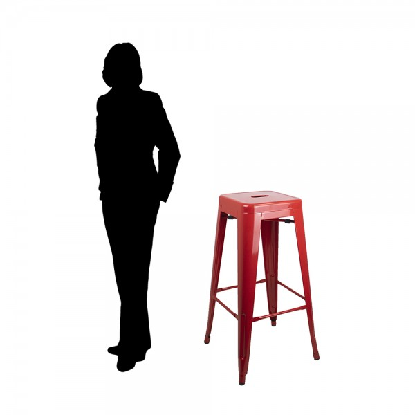 Metal Tolix Reproduction Stacking Stools | Bar Height | Black & Red Colour