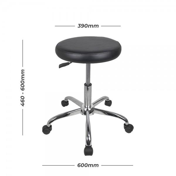 Chrome Utility Gas Lift Stool Chair Padded Vinyl Seat