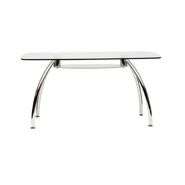 Glass Top Rectangle Office Desk / Dining Meeting Table With Shelf 1500mm Long Metal Frame