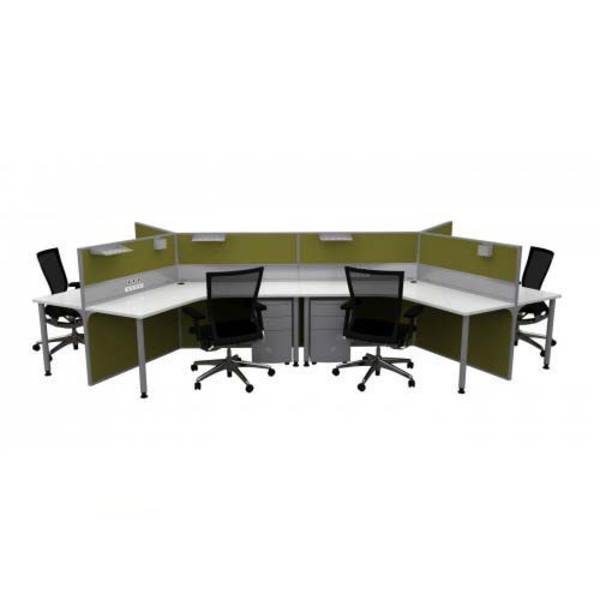 System 50 2000 6 Pod Workstation Desk & Ducted Screen Systems Furniture