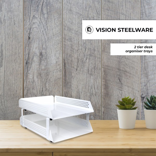 Vision Steel Perforated 2 Tier Letter Tray Document Paper Filing Desk Metal Organizers