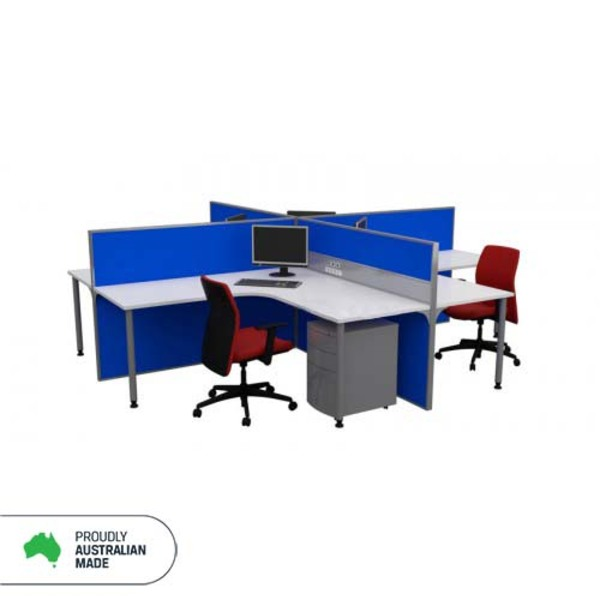 System 50 2000 4 Pod Workstation Desk & Ducted Screen Systems Furniture