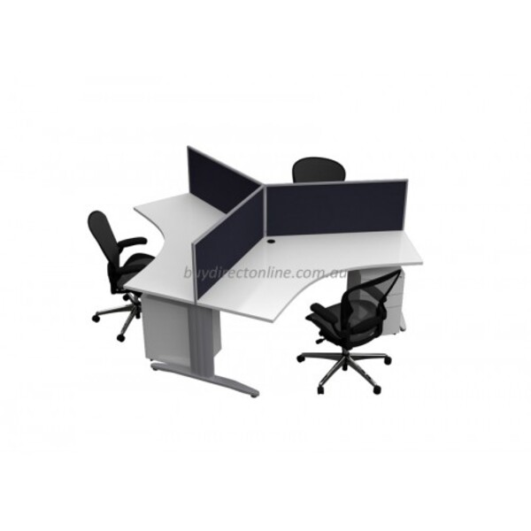 Chicago Single Leg 3 Pod Workstation Desk with Screens