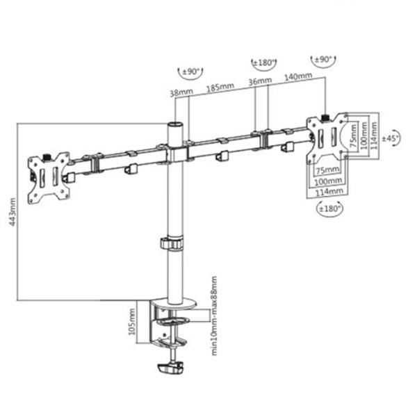 Desk Mount Double Arm Double Joint Monitor Bracket