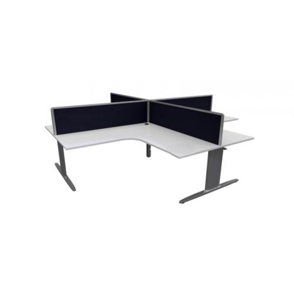 Chicago Single Leg 4 Pod Office Corner Workstation Desks & Screens