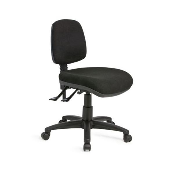 Alpha Logic Medium Back Ergonomic Office Chair - Black Fabric