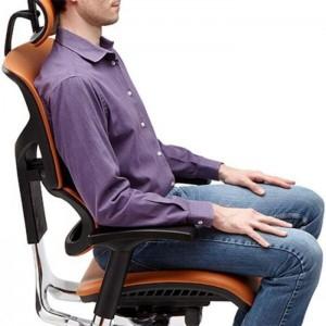 X4 Chair Genuine Black Leather Executive Ergonomic Office Chair Auto Dynamic Variable Lumbar