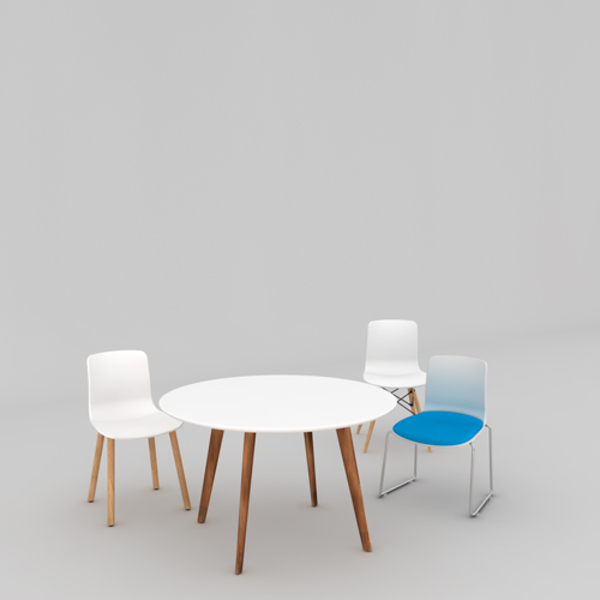 Acti Meeting Table Round 1000 Top + 4 Chairs Combo
