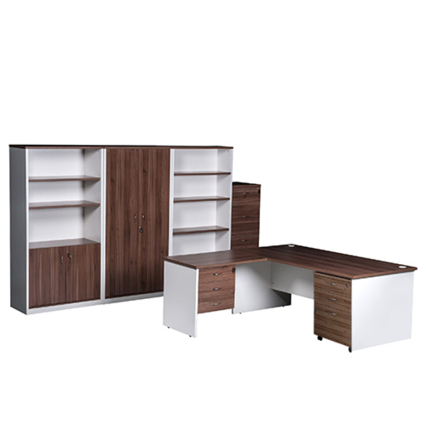 OM Premier Office Desk with Complete Storage Solution Combo