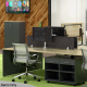 EkoSystem Shared Back To Back Workstation 4 Person