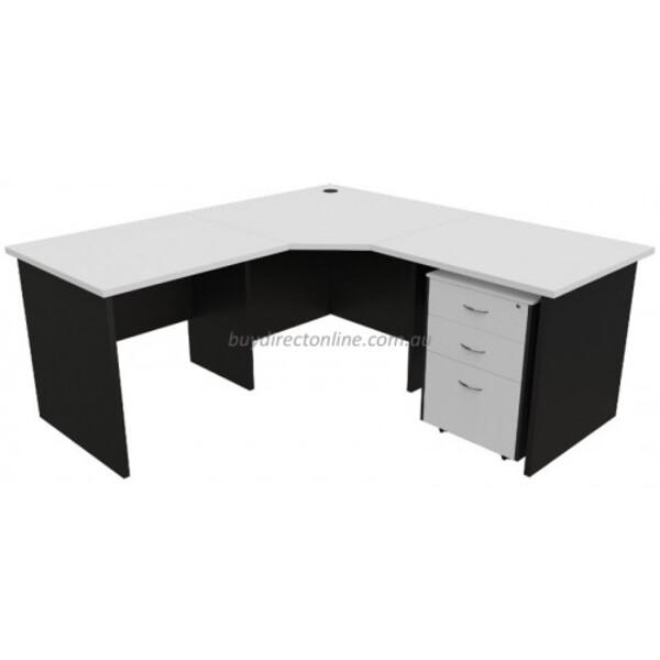 Origo Desk Corner Workstation  - White & Ironstone