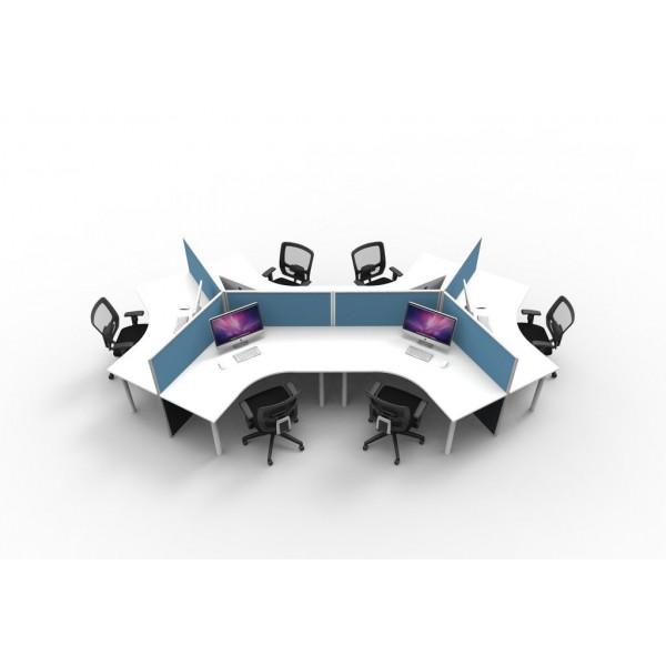 Rapid 6 Pod 120 Degree Workstation Desks With Acoustic Screens