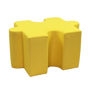 Jigsaw Puzzle Shaped Ottomans - Set of 4 Pieces Green / Blue / Red & Yellow