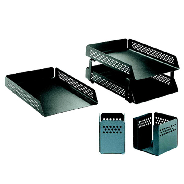 Vision Steel Krost 4 Piece Desk Set A4 Document Trays Pen & Business Card Holder