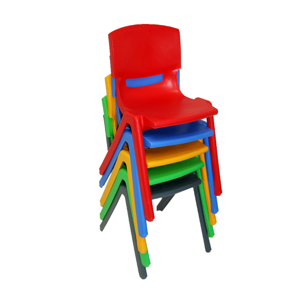 Blue Academy School Chair Plastic Stackable Chairs Optional Linking Device