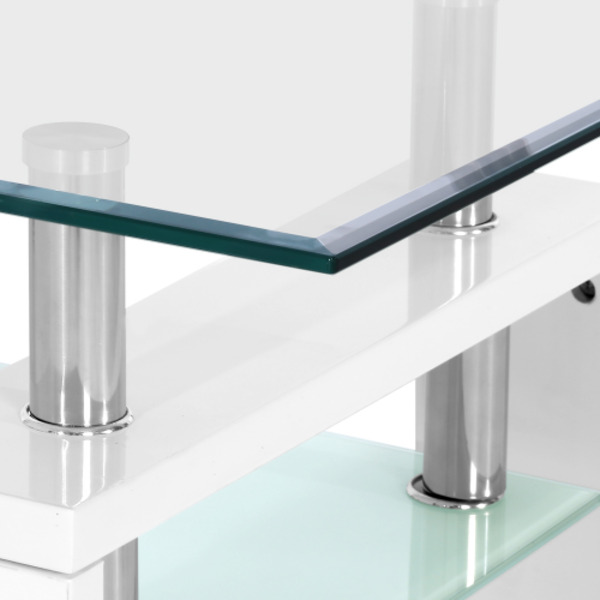 Artiss 2 Tier Glass Coffee Table - White