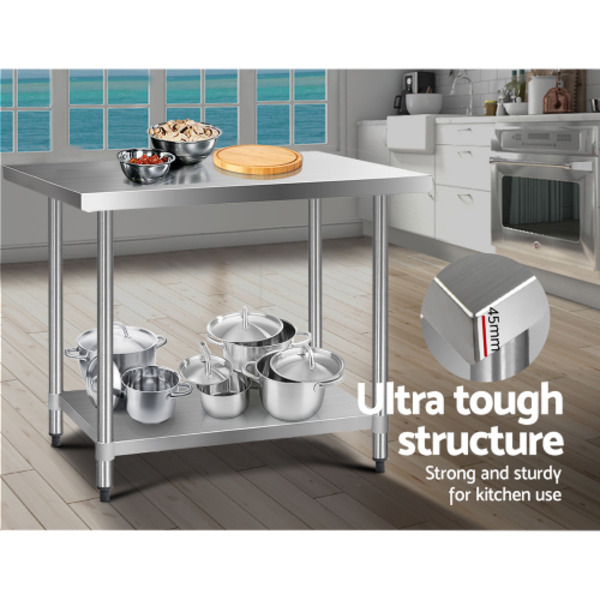 Cefito 1219 x 762mm Commercial Stainless Steel Bench