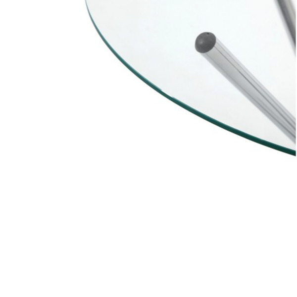 Round Dining Meeting Table with Tempered Glass - Silver