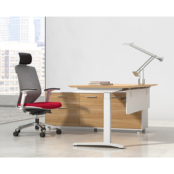 Potenza Height Adjustable Executive Sit Stand Desk With Cabinet Return