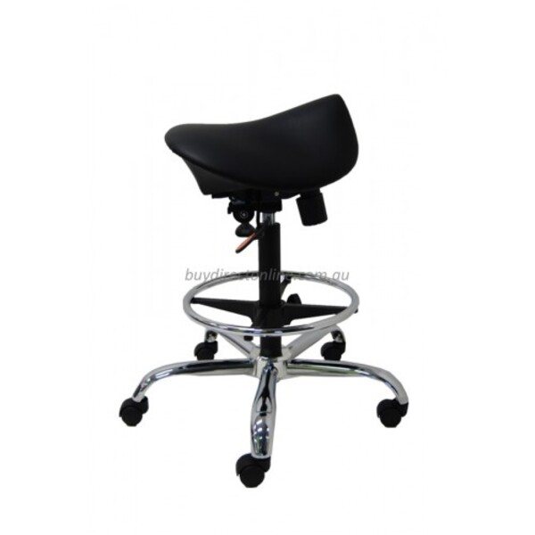 Saddle Seat Stool Gas Lift - Bench Height With Drafting Ring