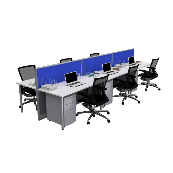 System 30 6 Desk Raceway Office Workstations with Screens