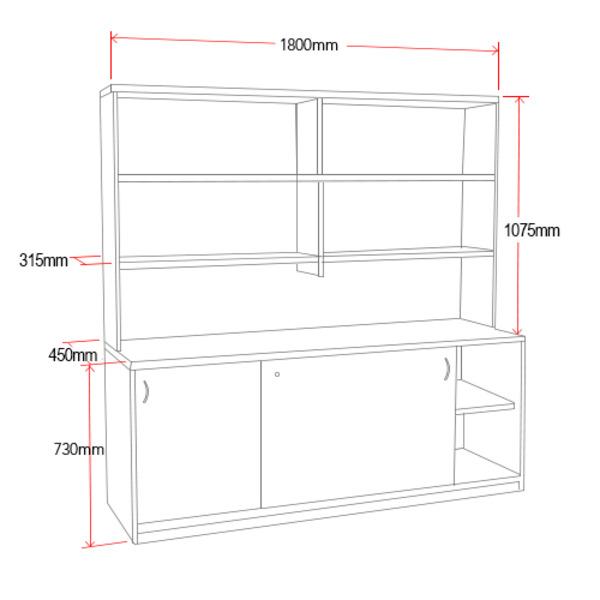 Origo Sliding Door Credenza with Hutch Storage Shelving