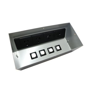 X-4 Power Dock Recessed Desk Table Top Power Box Quad Sockets & 4 Data With Lid