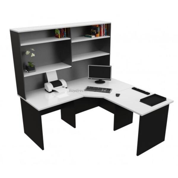 Origo Corner Office Desk Workstation with Hutch - White & Ironstone