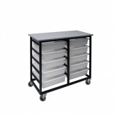 Mobile Metal 10 Tub Tote Box Trolley / Cart