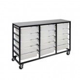 Mobile Metal 15 Tub Tote Box Trolley / Cart