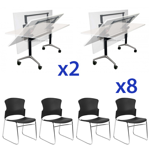 Combo Eiffel Folding Table & Adam Stacking Chair