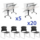 Eiffel Folding Table & Adam Stacking Chair XL Combo
