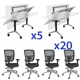 Combo Eiffel Folding Table & Energy Mesh Chair XL