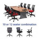 Origo Boat Shaped Meeting Table & Matrix Executive Mesh Chair Combo