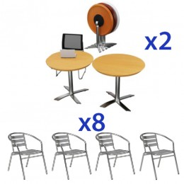 Round Flip Top Cafe Table & Aluminium Chair Combo