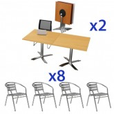Square Flip Top Cafe Table & Aluminium Chair Combo
