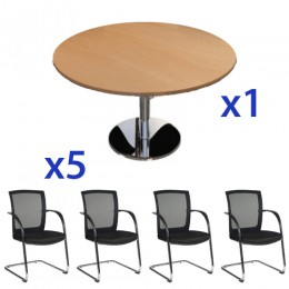 Origo Disc Base Meeting Table & Rocket Cantilever Chair Combo