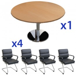 Round Chrome Base Meeting Table & Mode Guest Cantilever Chair Combo