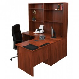 Origo Corner Workstation Office Desk with Hutch - Dark Cherry - 1500mm