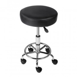 Round PU Swivel Salon Stool Black
